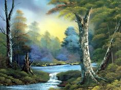 Buy 3 water Bob Ross oil painting reproduction from Toperfect's artists in reasonable prices; our painters are famous for 3 water Bob Ross paintings for sale, landscape art, portrait from photos, wall decor pictures, and more paintings on canvas. Bob Ross Landscape, Landscape Art, Landscape Paintings, Oil Paintings, Original Paintings, The Joy Of Painting, Peintures Bob Ross, Bob Ross Art, Waterfall Paintings