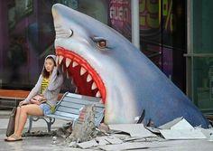 """Shark Attack"" city bench seen in Thailand"