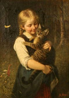 Rudolf Epp German) was a realist painter of the Munich School who primarily painted women and children with cats in domestic scenes. Classic Paintings, Old Paintings, Paintings I Love, Beautiful Paintings, Renaissance Kunst, Renaissance Paintings, Art And Illustration, Art Ancien, Victorian Art
