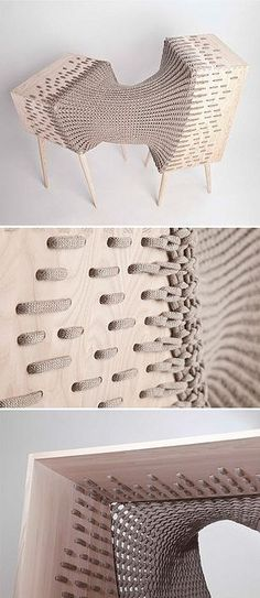 A blend of furniture and textile design is used in this graduation project by Kata Monus. The weave cleverly dissolves into the wood; an impressive and unifying detail.