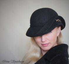 """Купить Шляпка """"Пауза"""" из коллекции """"Начало"""" - черный, однотонный, дамская шляпка, купить шляпу"""