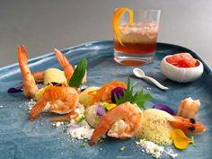 Krevety spomerančovou kari pěnou, mátový sníh, květákový krém a Afrika Spritz
