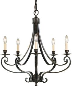 View the Murray Feiss F1929/5 Cervantes Wrought Iron 5 Light Chandelier at LightingDirect.com.