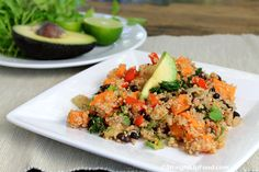 Black Bean & Yam Salad: black beans, yams, and quinoa Delicious Vegan Recipes, Vegetarian Recipes, Healthy Recipes, Skinny Recipes, Plant Based Whole Foods, Plant Based Recipes, Whole Food Recipes, Cooking Recipes, Cooking Yams