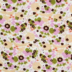 Whimsy Floral on Cream Cotton Lycra Knit Fabric