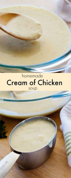 ~Homemade Condensed Cream of Chicken Soup Recipe~.~Homemade Condensed Cream of Chicken Soup Recip New Recipes, Cooking Recipes, Favorite Recipes, Milk Recipes, Steak Recipes, Cooking Tips, Chicken Soup Recipes, Chicken Soups, Chicken Life
