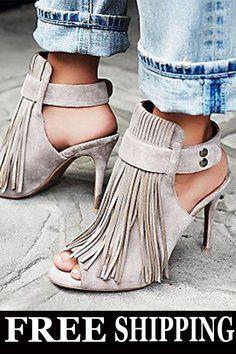 9e375232754 Stylish Buckle Peep Toe Stiletto Heel Fringe Sandals