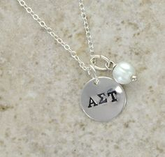 ALPHA SIGMA TAU Sterling Silver Hand Stamped Charm Necklace with pearl by CatalinasTreasures, $30.00