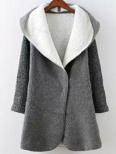 Grey Hooded Long Sleeve Pockets Sweater Coat 26.33