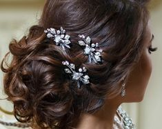 White or Ivory Bridal hair pin with pearl and leaf by TopGracia