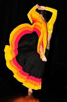 3Band Skirt  Flamenco Gypsy Tribal EXTRA full skirt by PoisonBabe, $125.00
