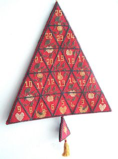 Cross stitch Christmas Advent wallhanging
