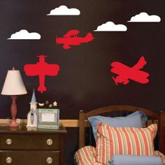 Fun airplane and cloud wall decals are great for any little guys room! For Joel