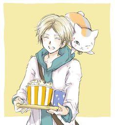 Natsume Takashi x Nyanko-sensei / Natsume no Yuujin-Chou Natsume Takashi, Natsume Yuujinchou, Anime Art, Pokemon, Fan Art, Manga, Cats, Artwork, Anime Stuff