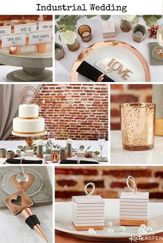 Industrial weddings are trending up, and this collection of copper and concrete items will allow you to design the industrial wedding of your dreams!