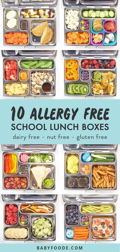 These 10 Allergy Friendly School Lunches are all nut free, dairy free and gluten free! You'll find two weeks worth of healthy and delicious school lunch ideas that your toddler or kid won't resist! Kids Lunch For School, Healthy Lunches For Kids, Lunch Snacks, Clean Eating Snacks, Food For School Lunches, Dinner Healthy, Healthy Food, Lunch Ideas For Kids, Lunch Box Ideas