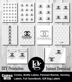 White Chanel Printable Party Kit - DIY - $14.95 - Chanel - chanel party - matchmypartytheme.com