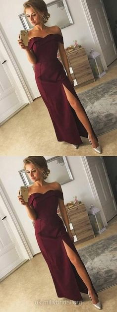 Long Prom Dresses, Sexy Prom Dresses, 2018 Prom Dresses Silk-like Satin, Off-the-shoulder Prom Dresses Sheath/Column, Ankle-length Prom Dresses Split Front #promdresses #party #evening