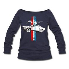 Distressed Ford Mustang race and stripes illustration from Autonaut.com Womens Tees (Short sleeve), deep heather. All me...