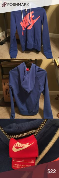 Nike women's zip up Size small blue and orange Nike women's jacket. Great condition. Nike Jackets & Coats