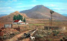 Weet nie hoe huisie se dak lyk, maar rooi sink is nostalgies en klink mooi in die reën. Landscape Art, Landscape Paintings, Landscape Photography, Landscape Pictures, South Afrika, Farm Paintings, Farm Art, South African Artists, Le Moulin