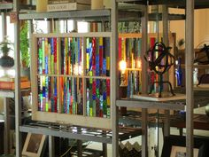 stained glass...Chicago Bungalow 6 pane vintage window with handmade rainbow colors. $410.00, via Etsy.