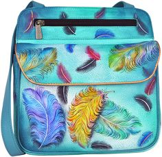 Floating Feathers Hand-Painted Leather Crossbody Bag