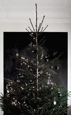 minimal Christmas tree black wall Cherry Blossom Blog