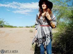 Loom Woven Aztec Diamond Print Winter Shawl Grey - Black Scarf | gorgeous #FairTuesday gift from @mitlamoda