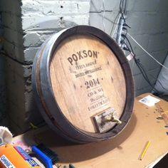 Custom Barrel Top made from barrel planter as a wedding gift.