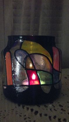 Faux Stained Glass Hand Painted Glass Candle by PattiesPassion, $9.99