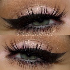 Pink shimmer on the lower lid with heavy black winged liner and long black lashes - perfect with any pink/red lipstick...x