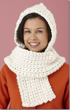This cozy scarf has a built-in hoodie. **FREE PATTERN**