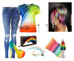 """""""Rainbow"""" by heather-nicole-denny ❤ liked on Polyvore featuring Mary Katrantzou, Boohoo, TaylorSays, Les Petits Joueurs, Universal Lighting and Decor, Vince Camuto, Alex and Ani, women's clothing, women's fashion and women"""