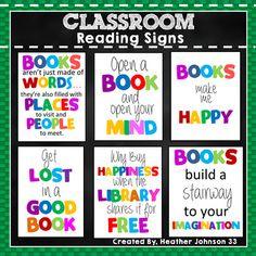 Reading Signs by Heather Johnson 33 Reading Corner Classroom, Reading Bulletin Boards, Classroom Bulletin Boards, School Classroom, Classroom Decor, Classroom Organization, Classroom Design, Kindergarten Classroom, Classroom Management