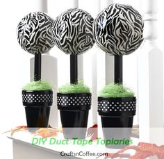 Make Duct Tape Topiary Trees Diy Craft Projects, Craft Tutorials, Fun Crafts, Diy And Crafts, Arts And Crafts, Craft Ideas, Decorating Ideas, Recycled Crafts, Summer Crafts