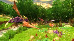 Spyro and Cynder flying