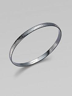 GURHAN Midnight Blackened Sterling Silver Bangle Bracelet $350