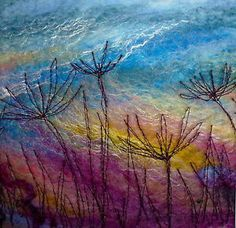 Felted painting - alliums