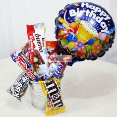 Assorted Sweets Chocolates With Happy Birthday Balloon Chocolate Basket Shop Bouquet