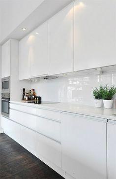 hochglanz einrichen eingebaut küchengestaltung weiß