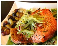 Fennel Avocado Salad, Broiled Sockeye Salmon & Cilantro Potatoes