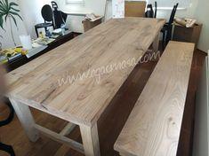 Kestane masif ahşap yemek masası uygulamamız. Chestnut massive wood dining table and bench.