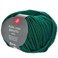 Pura Lana Emerald Green merino wool Aran yarn for knitting