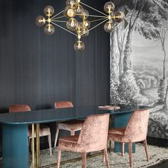 "526 Likes, 12 Comments - Roll & Hill (@rollandhill) on Instagram: ""We love this dining room by @studiopepe_official at @spotti_milano, featuring our #Modo Chandelier…"""