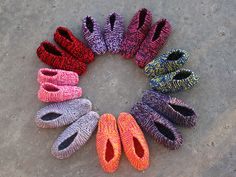 Aunt Maggie's slippers, a 1940's vintage pattern. My Nanna from Australia made slippers very similar to these.  Double strand the yarn, and crochet the edges closed, wear with socks and you have two foot furnaces.