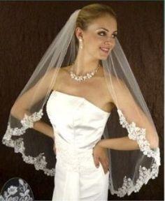 LC Bridal Ivory Beaded Alencon Lace Wedding Veil $65