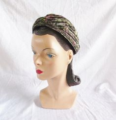 50's 60's Vintage Pink & Green Sparkly Turban by Dana Marte