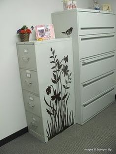 My filing cabinets are like the large one.  Thinking about covering or painting to look like cow hide.