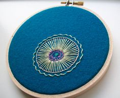 hand embroidered hoop art - freeform flower on repurposed pool table felt in 4 inch hoop by bo betsy - free shipping
